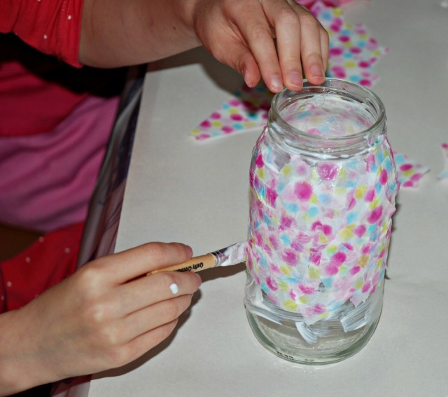 Begining Decoupage with sensory children it helps to use simple shapes like a recycled glass jar