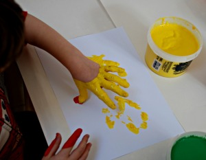 Finger painting sensory play at its best