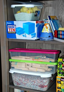 Home ed bookcase - crafts sticks and base 10 set for the kids to use
