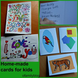 Home-made cards for young kids to make, encourages writing, spelling, colouring and cutting. ofamilyblog