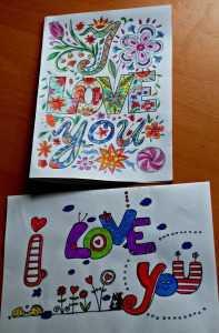 I love you colouring cards from Activity village
