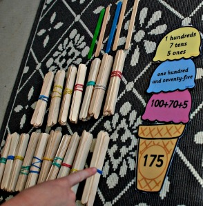 place value ice cream activity from Twinkl working with ones, tens and hundreds