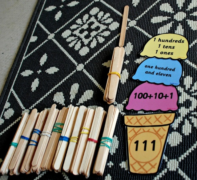 Place value ice-cream cones from Twinkl with our craft sticks