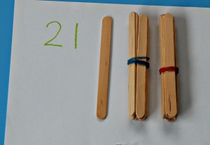 Using crafts sticks for maths at home learning