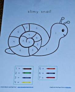 Colour by number snail from Mamaslearning corner