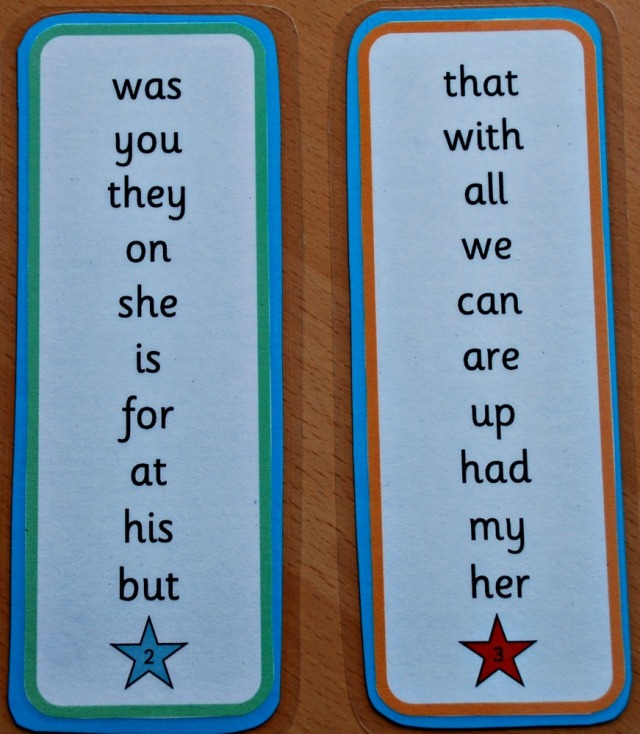 High frequency words bookmark free to download from activity village