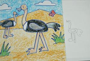 It's fun to draw safari animals - an ostrich