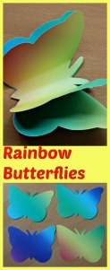 Rainbow Butterflies made using a free template from Activity Village and rainbow paper. Great fine motor activity