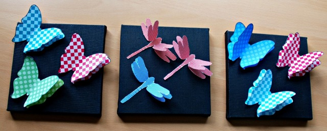 Simple art using the 3D dragonflies and 3D butterflies from Twinkl and some art canvases from Baker Ross