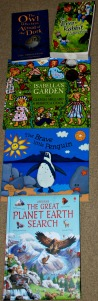 Books - The owl who was afraid of the dark, The Brer Rabbit Coolection, Isabella's Garden, The Brave little Penguin and The Great Planet Earth Search