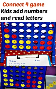Connect 4 game where kids add numbers together and read letters