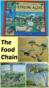Explain the food chain to young kids using the book Staying Alive. Very informative and easy for young kids to understand