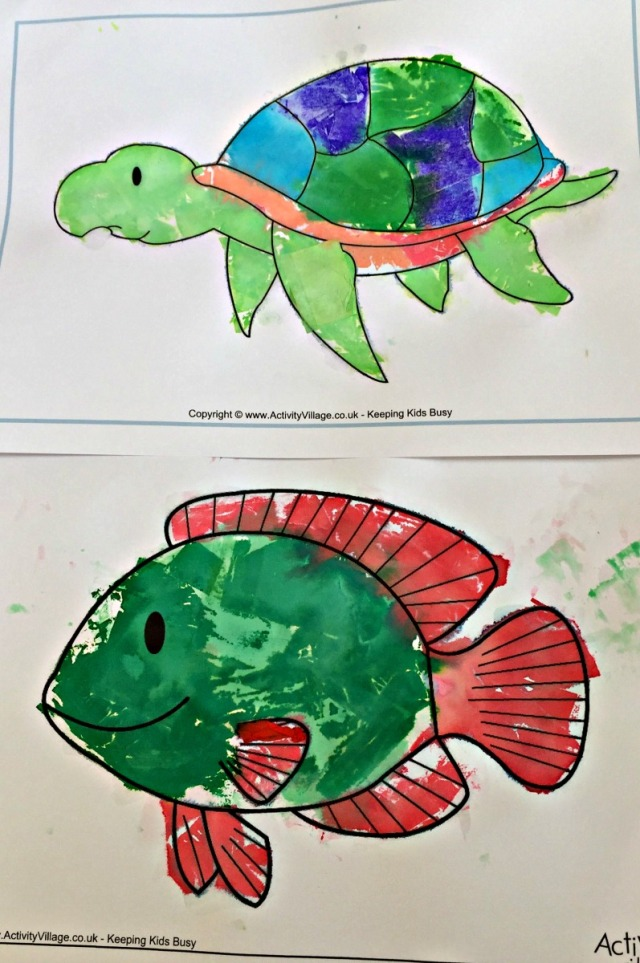 Fish and Sea turtle made by Bleeding tissue paper onto the colouring pages