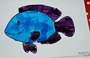 Fish colouring page with tissue paper and water added