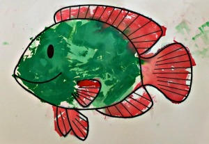 Fish made with bleeding tissue paper