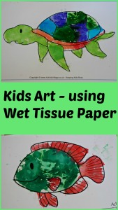 Kids Art idea using wet tissue paper and bleeding the colour onto colouring pictures