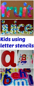 Kids using letter stencils to practice letter recongition and create words, helps with reading and spelling