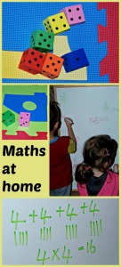 Maths at home using foam dice, hopscotch mat and a board