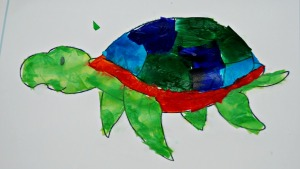 sea turtle tissue paper picture