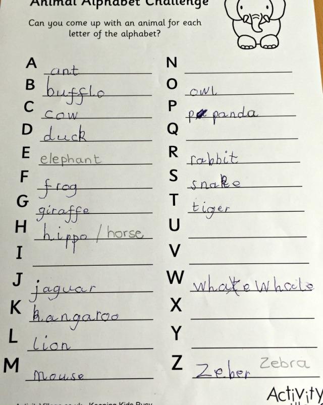 animal alphabet challenge page from activity village