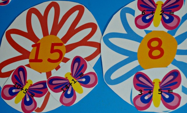 Butterfly and Flower addition activity from Twinkl