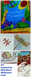 Children's Art inspired by the book Mad About Minibeasts by Giles Andreae