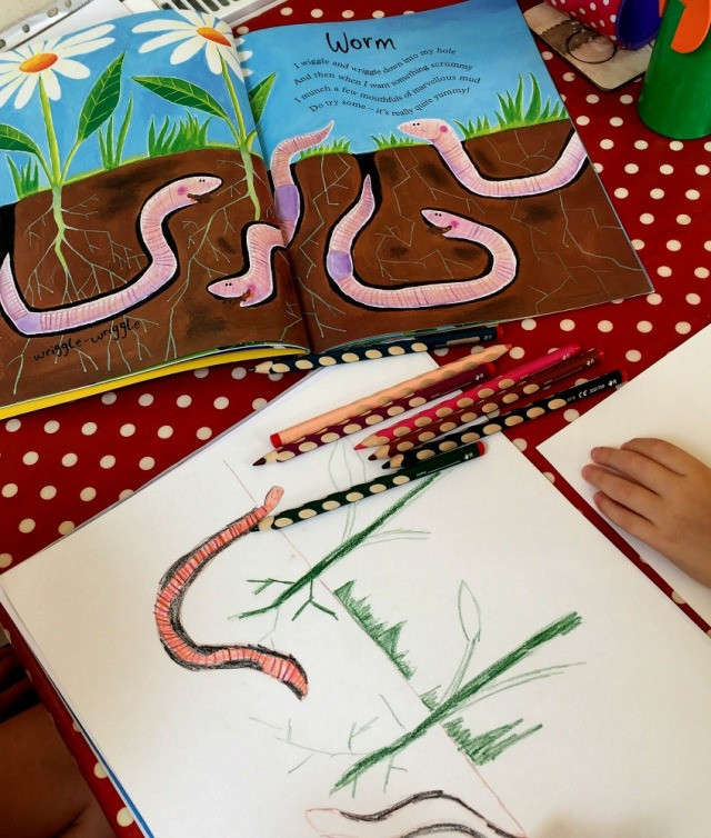 Mad About Minibeasts - making your own worm drawing using the page from the book