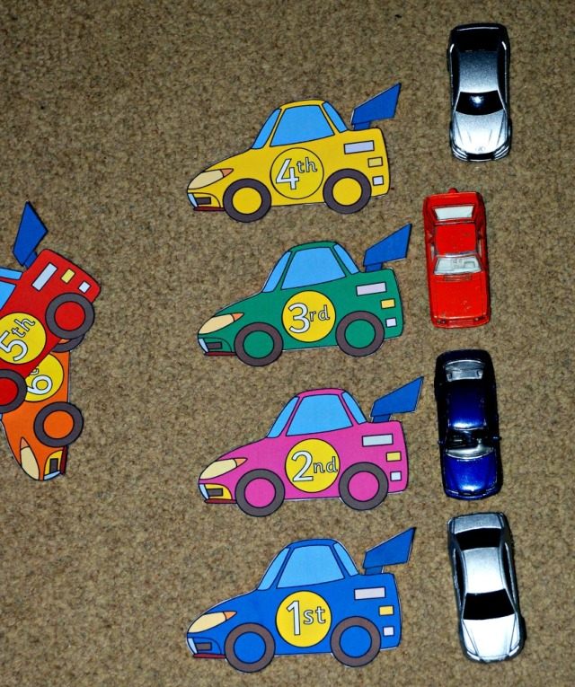 Ordinal Number cars free to download from Activity Village