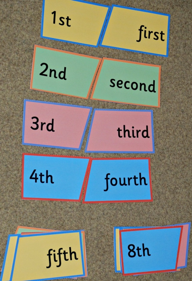 Ordinal number puzzle from Activity Village