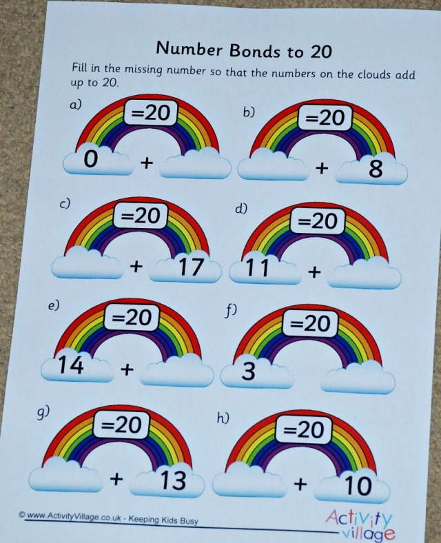 Rainbow Number bond worksheet free to download from activity village