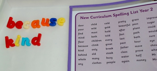 Word building using letters and the Word Mats from Twinkl
