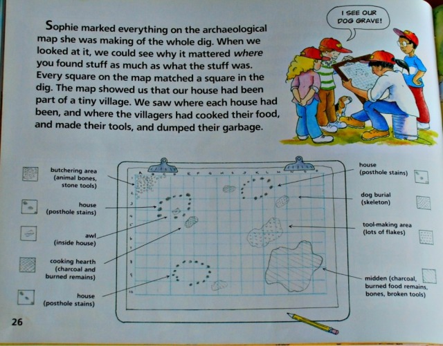 Archaeologists Dig For Clues. A children's book which follows a group of kids around a dig site as they learn about fossils and past events
