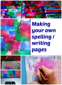 Custom made spelling and writing pages to use in our home education