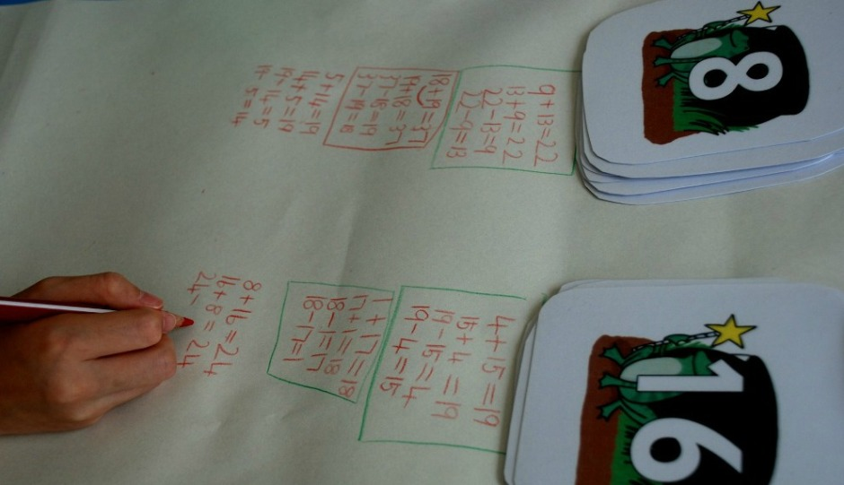 maths at home. the kids create their own sums
