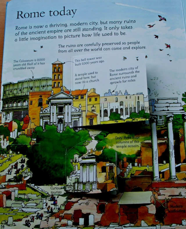 Ancient Rome Today page in the See Inside Ancient Rome Usborne book