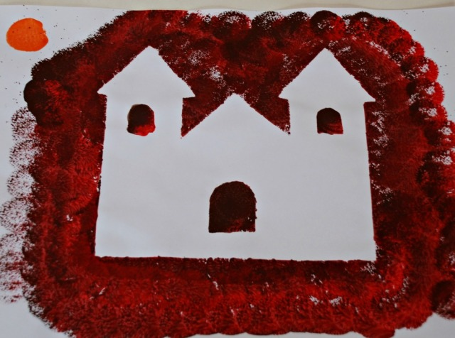 Haunted house easy young child's art activity