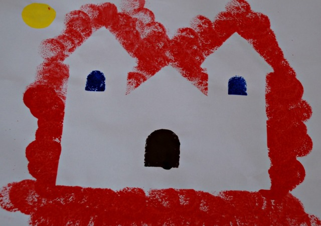 Haunted house art activity using a template and paint dabbers