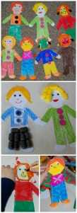 Kids art activity using the Free to download people template from Activity Village