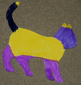 Wilbut the Cat from the Winnie the Witch stories art activity