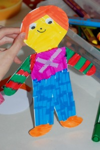 Young Child's easy craft activity using a people template