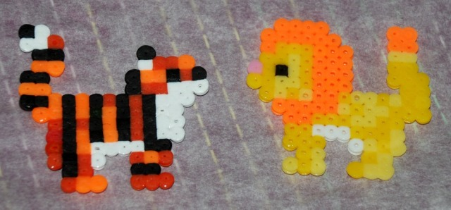 fusion bead tiger and lion made from the Baker Ross kits