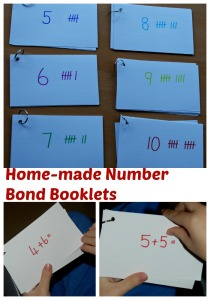 Home-made number bond booklets.  Very quick and easy to make
