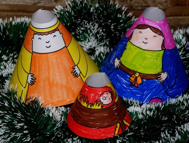 Nativity Cone People a great Christmas activity for children