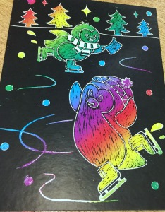 penguin scratch art picture from the Baker Ross set