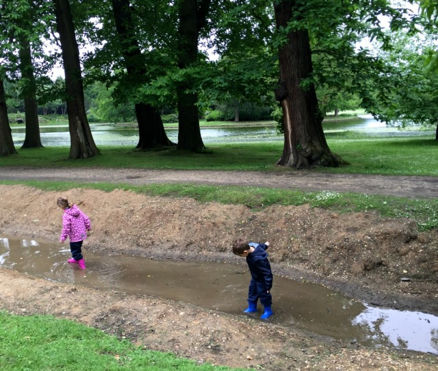 playing in the mud and water at Claremont garden