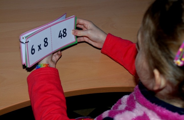 Times table booklet made using the folding cards from Twinkl
