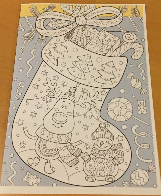 Christmas Colouring card from Activity Village - a Christmas stocking