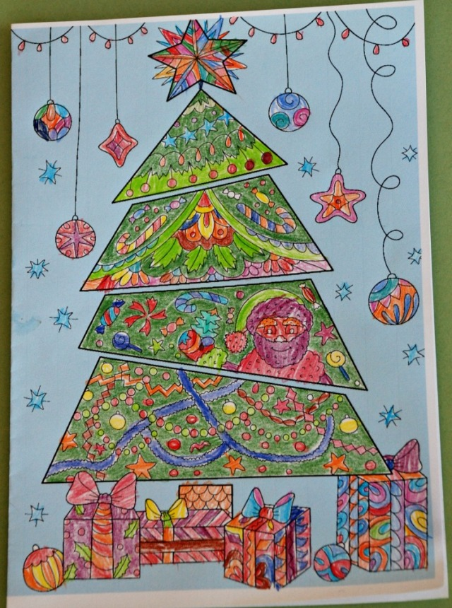 Christmas Tree colour Pop colouring card from Activity Village