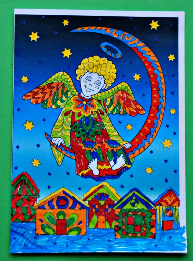 Colour Pop Christmas Angel colouring card from Activity Village