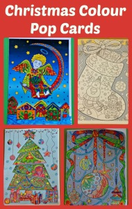 Colour Pop Christmas Colouring Cards from Activity Village
